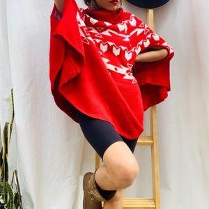 Peruvian Style Red Cape